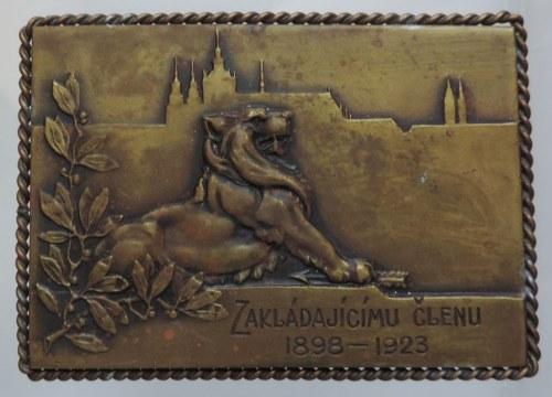 Medaile hospodářské, Bz plaketa v ozdobném rámečku 70x55mm (1923), Jednota, všeodobor.sdružení soukr. úřadníků, dílov. adéla, Zakládajícímu členu 1898-1923