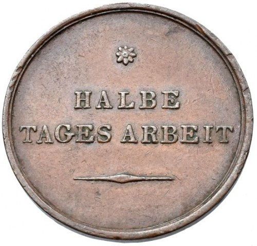 Účelové známky, Halbe Tages Arbeit, rakouská známka za půl dne práce v tabákové továrně v Sedleci u Kutné Hory