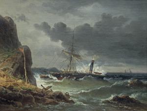 Brugner Colestin, SZTORM U SKALISTYCH BRZEGÓW, OK. 1860