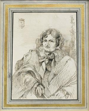 Norwid  Cyprian Kamil , PORTRET MATRONY Z HERBEM PIERZCHAŁA, 1864
