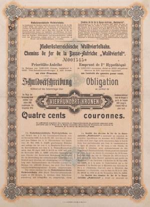 OBLIGACJA, DOLNOAUSTRIACKA KOLEJ REGIONU WALDVIERTEL, 1902