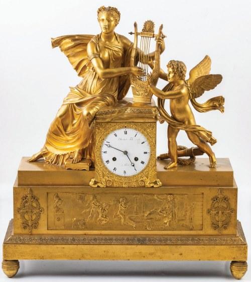 ZEGAR EMPIROWY MUZĄ I AMOREM, Francja, Paryż, Dartois Fils, 1 ćw. XIX w.