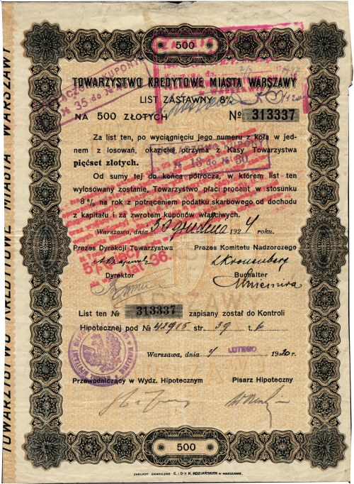 TOWARZYSTWO Kredytowe miasta Warszawy. List Zastawny na 500 złotych, Nº 313337 Za list ten...