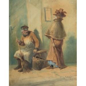 Franciszek Kostrzewski (1826 Warszawa - 1911 tamże), Scena rodzajowa, ok. 1909 r.