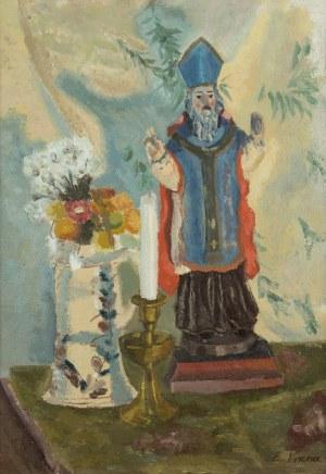 Emil Krcha (1894 Kałusz –1972 Kraków), Martwa natura z figurką