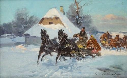 Czesław Wasilewski (1875 Warszawa – 1947 Łódź), Wesoła jazda saniami