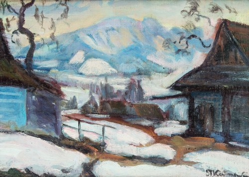 Stanisław Kamocki (1875 Warszawa - 1944 Zakopane), Pejzaż tatrzański z Giewontem w tle, k.XIX w.