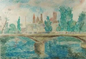 Eugeniusz Geppert (1890 Lwów - 1979 Wrocław), Pejzaż miejski, 1946 r.