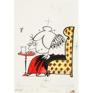 Jerzy Flisak (1930 Warszawa - 2008 tamże), Śniadanie - ilustracja do Szpilek 31