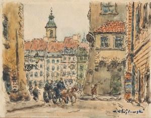 Tadeusz Cieślewski (1870 Warszawa-1956 tamże), Widok na Rynek Starego Miasta