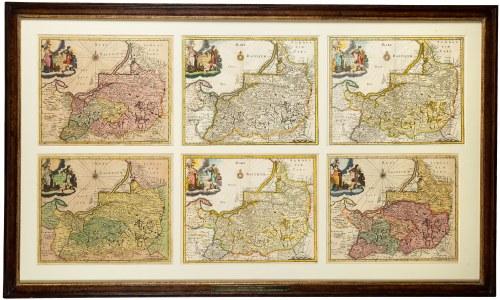 Zestaw 6 map Prussiae nova tabula, Polska, Philipp Cluver , Amsterdam, 1697-1729.