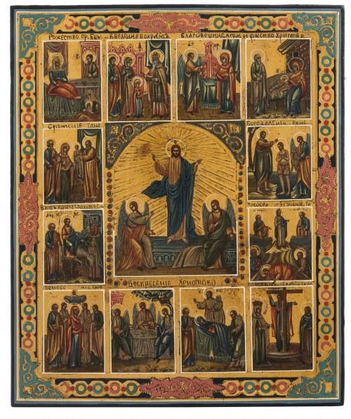 Ikona - Zmartwychwstanie Chrystusa i 12 Świąt Cerkiewnych (Prazdnik), Rosja, II poł XIX w.