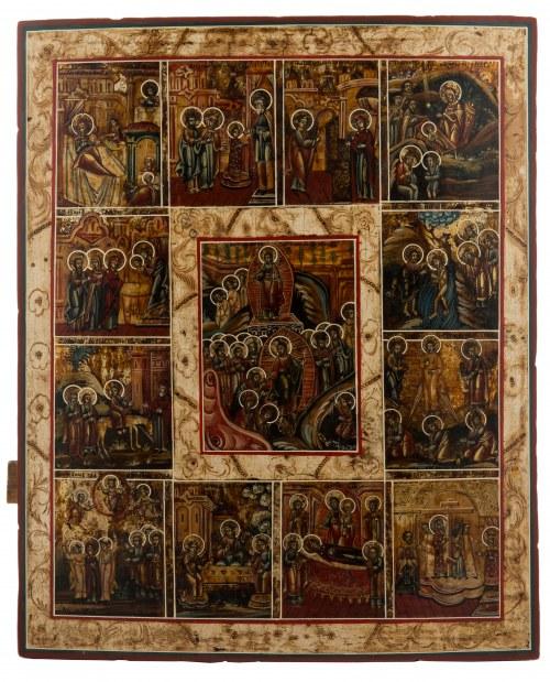 Ikona - Zmartwychwstanie Chrystusa i 12 Świąt Cerkiewnych, Wietka, poł. XIX w.