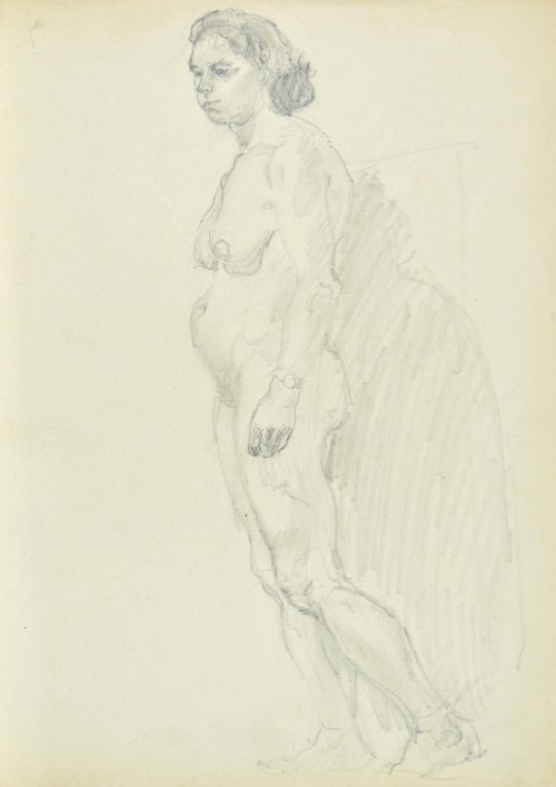 Kasper POCHWALSKI (1899-1971), Akt stojącej kobiety w kontrapoście w ujęciu z lewego boku i rzucający cień na ścianie w tle, 1953