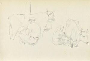 Ludwik MACIĄG (1920-2007), Dojenie krów – dwie sceny mężczyzna i kobieta dojący krowy