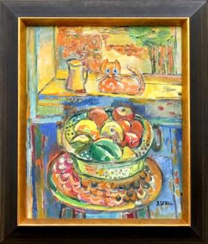 Judyta SOBEL (1924-2012), Kosz z owocami i kot na parapecie