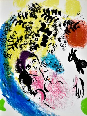 Marc CHAGALL (1887 - 1985), Les Amoureux au soleil rouge