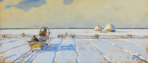 Julian FAŁAT (1853-1929), Pejzaż zimowy z Polesia, 1910