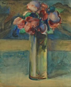 Teodor GROTT (1884-1972), Kwiaty (róże bordo), 1910