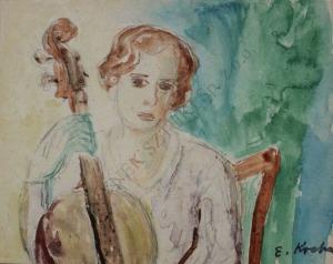 Emil Krcha (1894-1972), Wiolonczelistka-portret żony