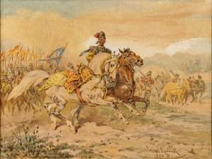 Juliusz Kossak (1824-1899), Jeździec z luzakiem, 1891