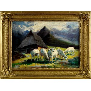 Michał Stańko (1901-1969), Owce przy góralskiej chacie