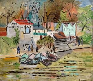 Stanisław Borysowski (1901-1988), Przystań łódek nad Sekwaną - praca dwustronna