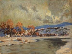 Mieczysław Serwin-Oracki (1912-1977), Pejzaż zimowy z rzeką