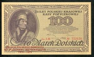 100 marek 1919 - AH -, odbitka na 60-lecie Polskiego banknotu