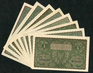 Zestaw, 5 marek 1919 (8 szt.)