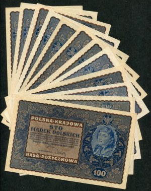 Zestaw banknotów, 100 marek 1919 (12szt.)