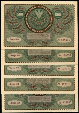 Zestaw banknotów, 500 marek 1919 (5szt.)