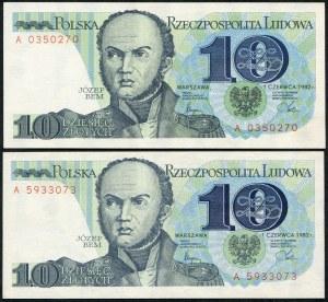 Zestaw banknotów, 10 złotych 1982 - A - (2szt.)