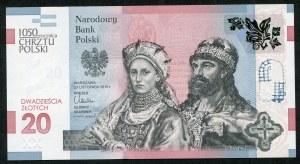 20 złotych 2015, 1050 rocznica Chrztu Polski, bardzo niski numer 0000729