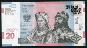 20 złotych 2015, 1050 rocznica Chrztu Polski, bardzo niski numer 0000730