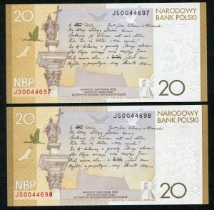 Zestaw banknotów, 20 złotych 2009, Juliusz Słowacki, numery kolejne (2szt.)