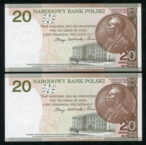 Zestaw banknotów, 20 złotych 2011, Maria Skłodowska-Curie (2szt.)