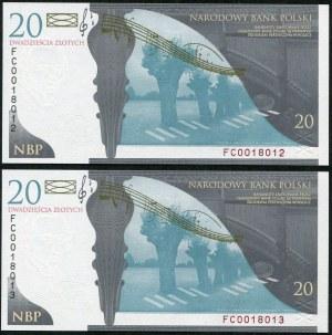 Zestaw banknotów, 20 złotych 2009, Fryderyk Chopin, numery kolejne (2szt.)
