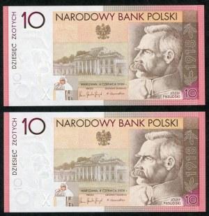 Zestaw banknotów, 10 złotych 2008, Józef Piłsudski, numery kolejne (2szt.)