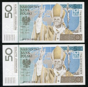 Zestaw banknotów, 50 złotych 2006, Jan Paweł II (2szt.)