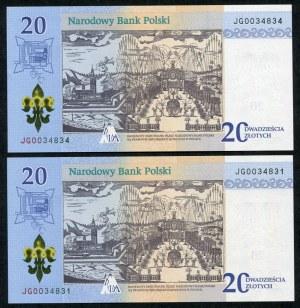 Zestaw banknotów, 20 złotych 2017, Jasna Góra (2szt.)