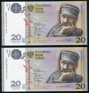 Zestaw banknotów, 20 złotych 2018, Józef Piłsudski, niskie, kolejne numery (2szt.)