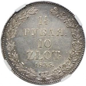 Polska, Zabór rosyjski, Mikołaj I, 1 1/2 rubla=10 złotych 1835 НГ, Petersburg, NGC MS63