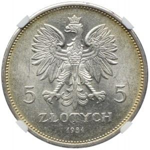 5 złotych 1931 Nike, Warszawa, NGC MS62