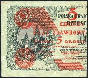 5 groszy 1924, bilet zdawkowy (lewy)