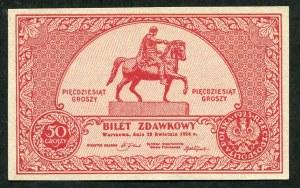 50 groszy 1924, bilet zdawkowy