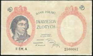 20 złotych 1924 II EM. A, falsyfikat z epoki