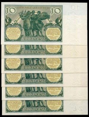 Zestaw banknotów, 10 złotych 1929 (6szt.)
