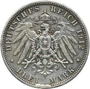 Niemcy, Lubeka, 3 marki 1912, A/Berlin