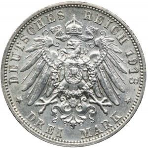 Niemcy, Saksonia, 3 marki 1913 E/Muldenhütten